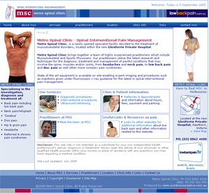 Metro Spinal Clinic Website